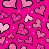 Άνευ ραφής υπόβαθρο με τις διακοσμητικά καρδιές και τα σημεία Πόλκα Στοκ εικόνα με δικαίωμα ελεύθερης χρήσης