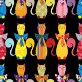Άνευ ραφής υπόβαθρο με τις διακοσμητικές κομψές γάτες Στοκ Εικόνες