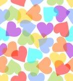 Άνευ ραφής υπόβαθρο με τις καρδιές στα χρώματα κρητιδογραφιών Στοκ φωτογραφία με δικαίωμα ελεύθερης χρήσης
