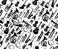 Άνευ ραφής υπόβαθρο με τις σκιαγραφίες του μουσικού μαύρου χρώματος οργάνων που απομονώνεται στο λευκό επίσης corel σύρετε το διά διανυσματική απεικόνιση