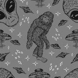 Άνευ ραφής υπόβαθρο με τον αλλοδαπό και την έννοια UFO Στοκ Εικόνες