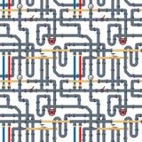 Άνευ ραφής υπόβαθρο με τους σωλήνες και τις σωληνώσεις στο λευκό Επίπεδα στοιχεία της σωλήνωσης νερού Αέριο των FO υδραυλικών, βι ελεύθερη απεικόνιση δικαιώματος