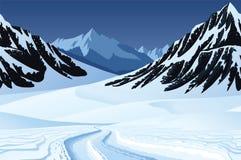 Άνευ ραφής υπόβαθρο με το χειμερινό τοπίο, βουνά, χιόνι ελεύθερη απεικόνιση δικαιώματος