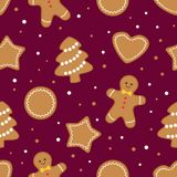 Άνευ ραφής υπόβαθρο μπισκότων Χριστουγέννων μελοψωμάτων απεικόνιση αποθεμάτων