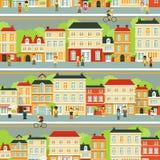 Άνευ ραφής υπόβαθρο οδών πόλεων με τους ανθρώπους μέσα Στοκ φωτογραφία με δικαίωμα ελεύθερης χρήσης