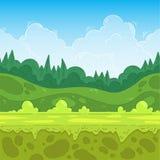 Άνευ ραφής υπόβαθρο παιχνιδιών Δασικό τοπίο για το σχέδιο παιχνιδιών Στοκ Εικόνα