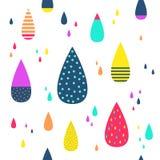 Άνευ ραφής υπόβαθρο σχεδίων βροχής ζωηρόχρωμο επίσης corel σύρετε το διάνυσμα απεικόνισης Στοκ Εικόνες