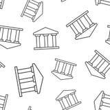 Άνευ ραφής υπόβαθρο σχεδίων εικονιδίων οικοδόμησης τράπεζας Διανυσματική απεικόνιση κυβερνητικής αρχιτεκτονικής Εξωτερικό σχέδιο  διανυσματική απεικόνιση