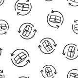 Άνευ ραφής υπόβαθρο σχεδίων επιστροφής εικονιδίων συσκευασίας κιβωτίων Επιχείρηση ομο διανυσματική απεικόνιση