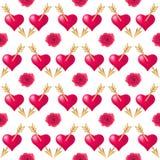 Άνευ ραφής υπόβαθρο σχεδίων με τις καρδιές που διαπερνιούνται από τα χρυσά βέλη και τα τριαντάφυλλα Τυπογραφία διακοπών ημέρας βα διανυσματική απεικόνιση