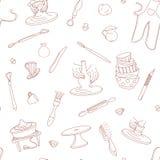 Άνευ ραφής υπόβαθρο σχεδίων στούντιο αγγειοπλαστικής Συρμένο χέρι διανυσματικό ύφος Doodle απεικόνισης Ελεύθερη απεικόνιση δικαιώματος