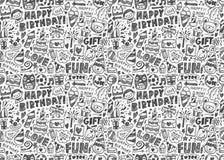 Άνευ ραφής υπόβαθρο σχεδίων γιορτής γενεθλίων Doodle Στοκ Φωτογραφίες