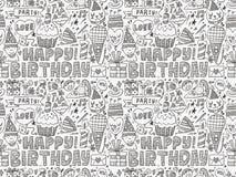 Άνευ ραφής υπόβαθρο σχεδίων γιορτής γενεθλίων Doodle Στοκ εικόνες με δικαίωμα ελεύθερης χρήσης
