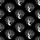 Άνευ ραφής υπόβαθρο σχεδίων, γραπτό δέντρο Στοκ Εικόνες