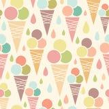 Άνευ ραφής υπόβαθρο σχεδίων κώνων παγωτού Στοκ Εικόνες