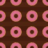 Άνευ ραφής υπόβαθρο σχεδίων με τα ζωηρόχρωμα donuts, απεικόνιση Στοκ φωτογραφία με δικαίωμα ελεύθερης χρήσης