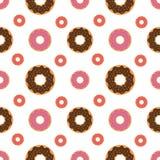 Άνευ ραφής υπόβαθρο σχεδίων με τα ζωηρόχρωμα donuts, απεικόνιση Στοκ Φωτογραφίες