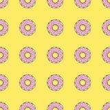 Άνευ ραφής υπόβαθρο σχεδίων με τα ζωηρόχρωμα donuts, διανυσματική απεικόνιση Στοκ Εικόνες