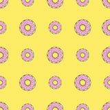 Άνευ ραφής υπόβαθρο σχεδίων με τα ζωηρόχρωμα donuts, διανυσματική απεικόνιση Στοκ φωτογραφία με δικαίωμα ελεύθερης χρήσης