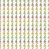 Άνευ ραφής υπόβαθρο σχεδίων με τα κόκκινα, κίτρινα, πράσινα αχλάδια Στοκ Φωτογραφίες