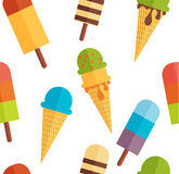 Άνευ ραφής υπόβαθρο σχεδίων παγωτού επίσης corel σύρετε το διάνυσμα απεικόνισης Στοκ Φωτογραφίες