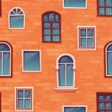Άνευ ραφής υπόβαθρο σχεδίων του τοίχου με τα παράθυρα Στοκ Εικόνα