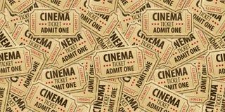 Άνευ ραφής υπόβαθρο σχεδίων των εισιτηρίων κινηματογράφων Στοκ Φωτογραφία