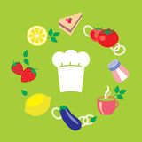 Άνευ ραφής υπόβαθρο σύνθεσης κουζινών διανυσματικό Στοκ Εικόνες