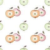 Άνευ ραφής υπόβαθρο σύστασης φρούτων σχεδίων χρωμάτων κρητιδογραφιών της Apple απεικόνιση αποθεμάτων