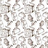 Άνευ ραφής υπόβαθρο ταξιδιού με τις τσάντες και τις βαλίτσες ταξιδιού Συρμένο χέρι σχέδιο καλοκαιρινών διακοπών διάνυσμα απεικόνιση αποθεμάτων