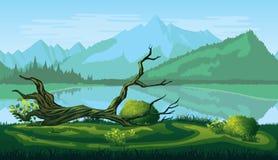 Άνευ ραφής υπόβαθρο του τοπίου με τον ποταμό, το δάσος και τα βουνά διανυσματική απεικόνιση