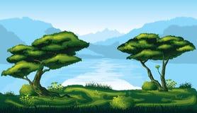 Άνευ ραφής υπόβαθρο του τοπίου με το βαθύ δάσος έλατου ελεύθερη απεικόνιση δικαιώματος