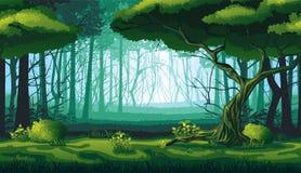 Άνευ ραφής υπόβαθρο του τοπίου με το βαθύ δάσος απεικόνιση αποθεμάτων