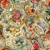 Άνευ ραφής υπόβαθρο του Paisley, floral σχέδιο Ζωηρόχρωμο διακοσμητικό σκηνικό Ταπετσαρία χρώματος με τα διακοσμητικά λουλούδια Στοκ Εικόνες