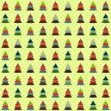 Άνευ ραφής υπόβαθρο των ζωηρόχρωμων χριστουγεννιάτικων δέντρων Στοκ Εικόνες