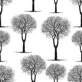 Άνευ ραφής υπόβαθρο των συρμένων δέντρων Στοκ Εικόνες