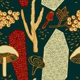 Άνευ ραφής υπόβαθρο φθινοπώρου με τα μούρα Απεικόνιση αποθεμάτων