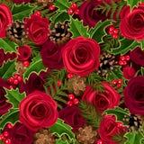 Άνευ ραφής υπόβαθρο Χριστουγέννων με τα τριαντάφυλλα και τον ελαιόπρινο. Στοκ Φωτογραφίες