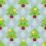 Άνευ ραφής υπόβαθρο χριστουγεννιάτικων δέντρων Kawaii κινούμενων σχεδίων Στοκ Φωτογραφίες