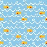 Άνευ ραφής υπόβαθρο ψαριών και κυμάτων Στοκ Εικόνα