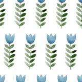 Άνευ ραφής υπόβαθρο watercolor που αποτελείται από τα ρόδινα λουλούδια και τα πέταλα Στοκ εικόνες με δικαίωμα ελεύθερης χρήσης