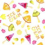 Άνευ ραφής υπόβαθρο watercolor σχεδίων με την εικόνα ενός ακτινίδιου, πορτοκάλι, καρπούζι, παγωτό Juicy πολτός και σπόροι για στοκ εικόνες με δικαίωμα ελεύθερης χρήσης