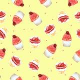 Άνευ ραφής φράουλα Cupcake σχεδίων για τη συσκευασία, κόκκινο υπόβαθρο για την ενδυμασία παιδιών Χέρι Watercolor που σύρεται ελεύθερη απεικόνιση δικαιώματος
