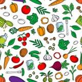 Άνευ ραφής φρέσκο και παστωμένο σχέδιο λαχανικών Στοκ Φωτογραφία