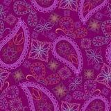 Άνευ ραφής φωτεινό burgundy σχέδιο με τις πεταλούδες και το Paisley Διανυσματική τυπωμένη ύλη Στοκ εικόνες με δικαίωμα ελεύθερης χρήσης
