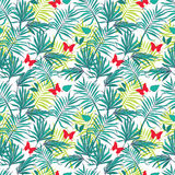 Άνευ ραφής φύλλα και πεταλούδες φοινικών σχεδίων Στοκ Φωτογραφία