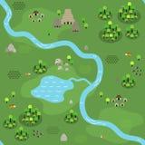 Άνευ ραφής χάρτης ζουγκλών στο επίπεδο ύφος Στοκ εικόνα με δικαίωμα ελεύθερης χρήσης