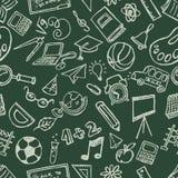 Άνευ ραφής χέρι σχολικής ουσίας doodles που σύρεται Στοκ Εικόνες