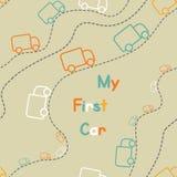 Άνευ ραφής χαριτωμένα φορτηγά χρώματος, το πρώτο σχέδιο αυτοκινήτων μου στο χρώμα backgr Στοκ εικόνα με δικαίωμα ελεύθερης χρήσης