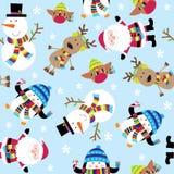 Άνευ ραφής χαριτωμένες Santa και απεικόνιση φίλων διανυσματική απεικόνιση